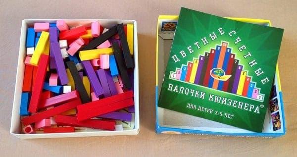 Внутри коробки Цветные счетные палочки Кюизенера